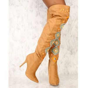 Camel Embroidered Over the Knee High Heel Boots